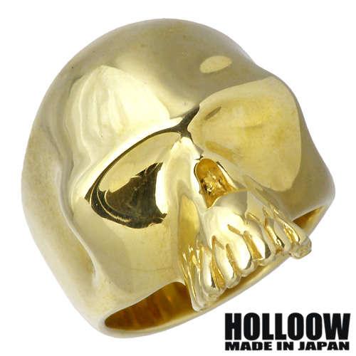 HOLLOOW【ホロウ】リング 指輪 レディース スカル メンズ シルバー ゴールド キュービック ドクロ 髑髏 10~25号925 スターリングシルバー KHR-31GD