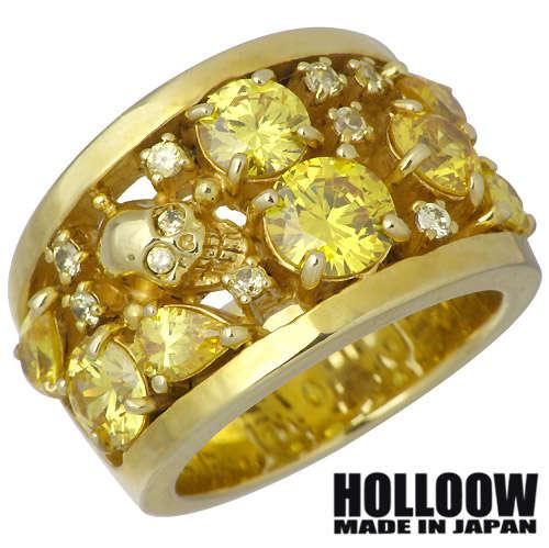 ホロウ HOLLOOW リング 指輪 レディース スカル メンズ シルバー ジュエリー ゴールド キュービック ドクロ 髑髏 10~25号925 スターリングシルバー KHR-50GD