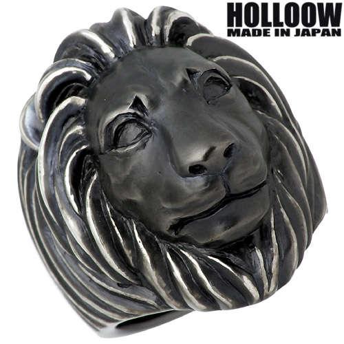 【ホロウ】HOLLOOW リング 指輪 レディース ライオン メンズ シルバー ジュエリー ブラック 獅子 10~25号925 スターリングシルバー KHR-61BK