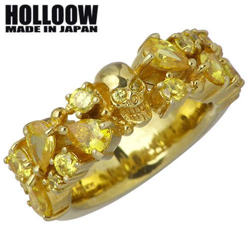 【ホロウ】HOLLOOW リング 指輪 レディース スカル メンズ シルバー ジュエリー ゴールド キュービック ドクロ 髑髏 10~25号925 スターリングシルバー KHR-62GD