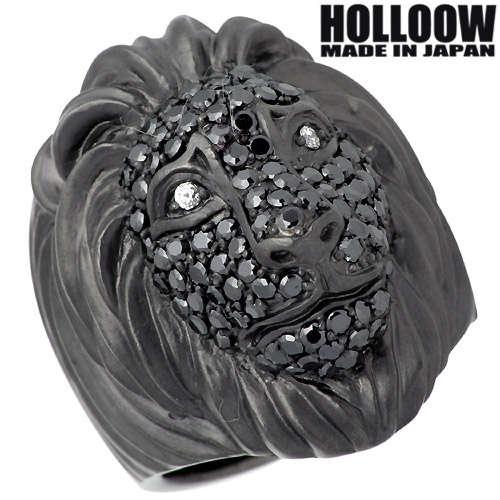 【ホロウ】HOLLOOW リング 指輪 レディース ライオン メンズ シルバー ジュエリー ブラック キュービック 獅子 10~25号925 スターリングシルバー KHR-63BK