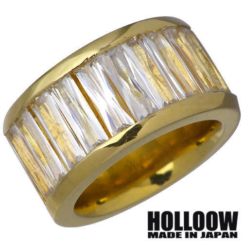 【ホロウ】HOLLOOW リング 指輪 レディース メンズ シルバー ジュエリー ゴールド キュービック 10~25号925 スターリングシルバー KHR-66GD