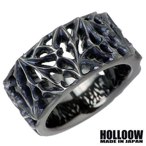 HOLLOOW【ホロウ】リング 指輪 メンズ シルバー ブラック 15~25号 925 スターリングシルバー KHR-96BK