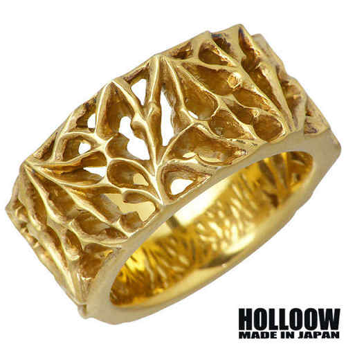 ホロウ HOLLOOW リング 指輪 メンズ シルバー ジュエリー ブラック 15~25号 925 スターリングシルバー KHR-96GD