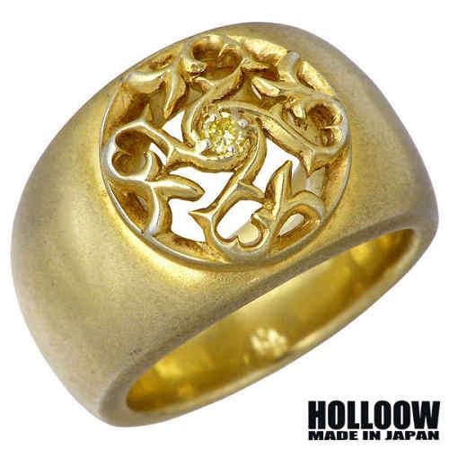 HOLLOOW【ホロウ】リング 指輪 メンズ シルバー トライバル リリー ゴールド キュービック ユリ 百合 唐草 13~25号 925 スターリングシルバー KHR-99GD