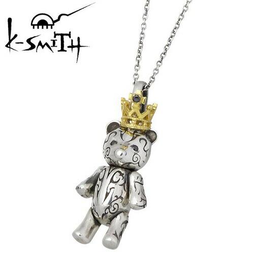 K-SMITH【ケースミス】ネックレス レディース ベアー シルバー Tatoo Bear S ブラックキュービックペンダント テディベア 王冠 925 スターリングシルバー KI-1279804