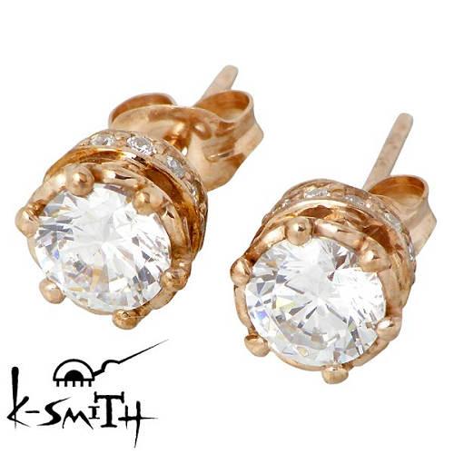 【ケースミス】K-SMITH ピアス レディース シルバー ジュエリー 王冠 キュービック ピンクゴールド スタッドタイプ 2個売り 両耳用 925 スターリングシルバー KI-1280411