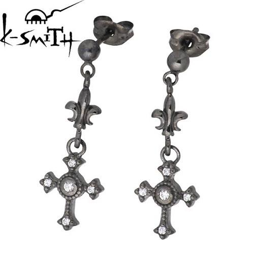 ケースミス K-SMITH ピアス レディース メンズ シルバー ジュエリー クロス ショート キュービック ブラック スタッドタイプ 2個売り 両耳用 925 スターリングシルバー KI-1281159