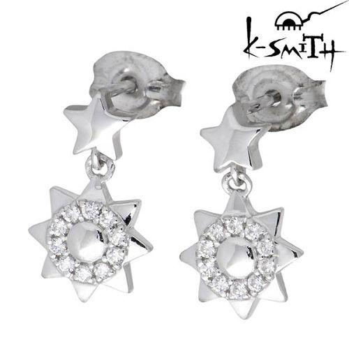 ケースミス K-SMITH ピアス レディース シルバー ジュエリー 惑星 キュービック 太陽 両耳用 925 スターリングシルバーKS-00157