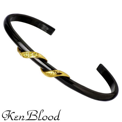 【ケンブラッド】KEN BLOOD バングル メンズ シルバー ジュエリー スパイラル キュービック ブラック・ゴールドコーティング CZ BK GD 925 スターリングシルバー KB-KP-254