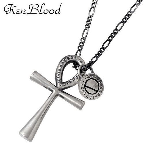 KEN BLOOD【ケンブラッド】 ネックレス レディース シルバー S アイアンクロス 十字架 アンティーク仕上げ 925 スターリングシルバー KB-KP-285SV