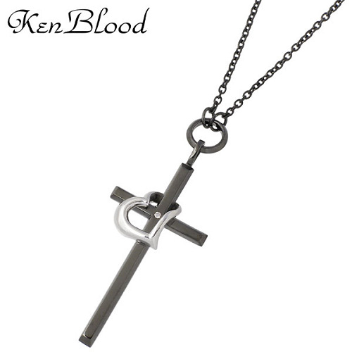 ケンブラッド KEN BLOOD ネックレス メンズ レディース シルバー ジュエリー クロス ハート ダイヤモンド ブラックXシルバー 925 スターリングシルバー KB-KP-325BK