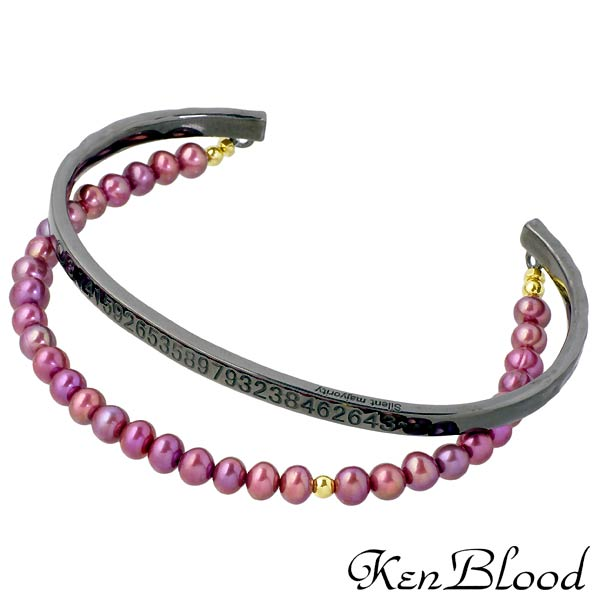 【ケンブラッド】KEN BLOOD バングル メンズ シルバー ジュエリー 淡水パール ブラック 925 スターリングシルバー KP-376P-BK