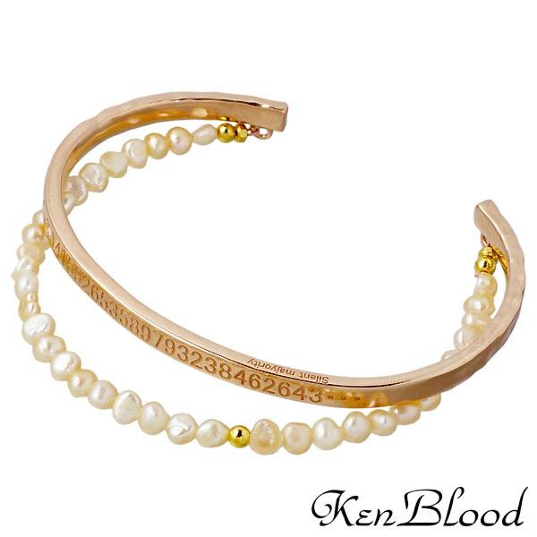 【ケンブラッド】KEN BLOOD バングル メンズ シルバー ジュエリー 淡水パール ピンク 925 スターリングシルバー KP-376P-PK