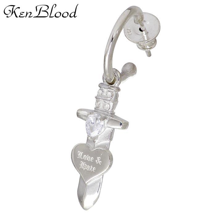 【ケンブラッド】KEN BLOOD シルバー ジュエリー ピアス ハート キュービック メンズ レディース 1個売り 片耳用 KP-472P
