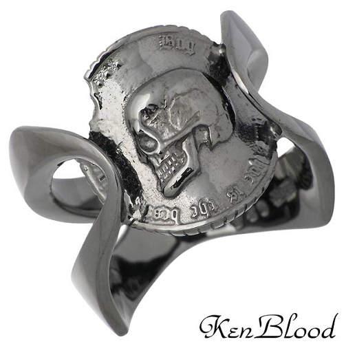 【ケンブラッド】KEN BLOOD リング 指輪 レディース スカル コイン シルバー ジュエリー Bプライド ブラック 925 スターリングシルバー KR-238BK