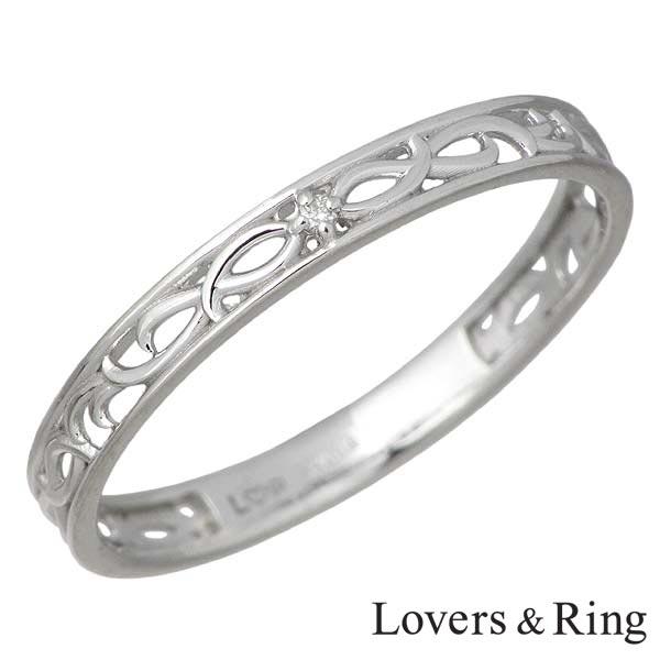 Lovers & Ring【ラバーズリング】リング 指輪 レディース ダイヤモンド K10 ホワイトゴールド 5~23号 刻印可能 LSR-0610MDWG