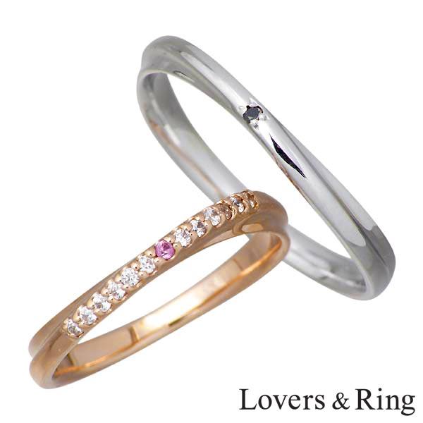 Lovers & Ring【ラバーズリング】リング 指輪 レディース ピンクサファイア K10 ペアー ゴールド キュービック ブラックダイヤモンド 刻印可能 LSR-0660-P
