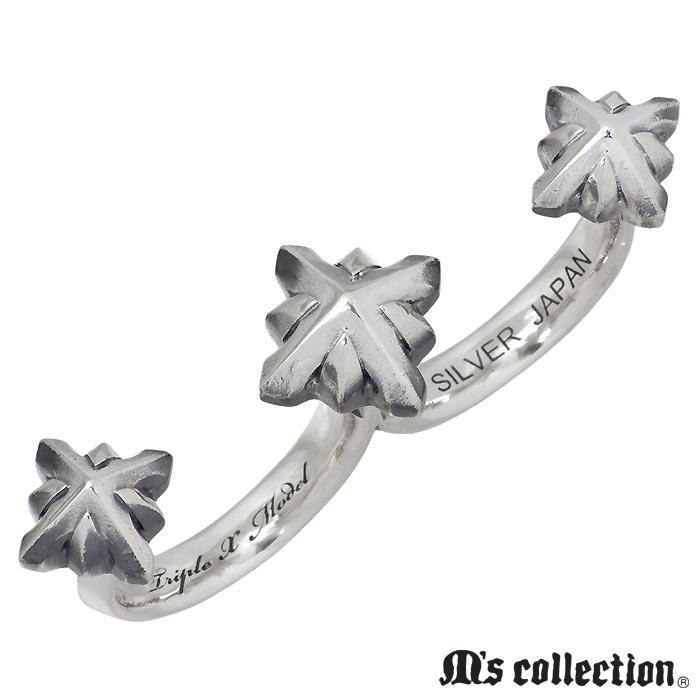 【エムズコレクション】M's collection シルバー ジュエリー リング スリー スタッズ ダブル メンズ 指輪 15~23号 XR-024