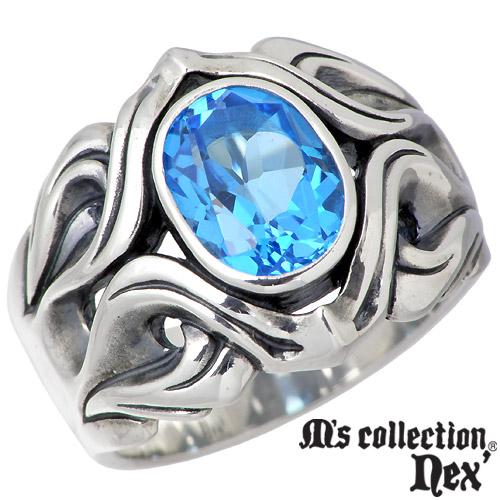 【エムズコレクション】M's collection リング 指輪 メンズ シルバー ジュエリー ブルートパーズ 925 スターリングシルバー X0093BTP