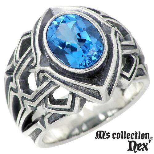 エムズ コレクション M's collection リング 指輪 メンズ シルバー ジュエリー ブルートパーズ 15~21号 スター 925 スターリングシルバー X0131BTP