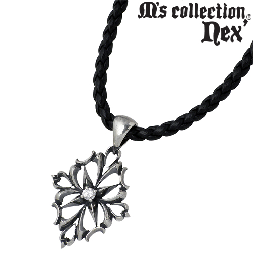 【エムズコレクション】M's collection ネックレス メンズ シルバー ジュエリー キュービック スター レザー チョーカー 925 スターリングシルバー X0136