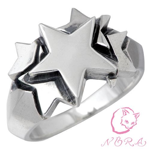 【ノラ】NORA リング 指輪 レディース ネコ シルバー ジュエリー 猫 ねこ ファイブ スター 925 スターリングシルバー NR-R-0025