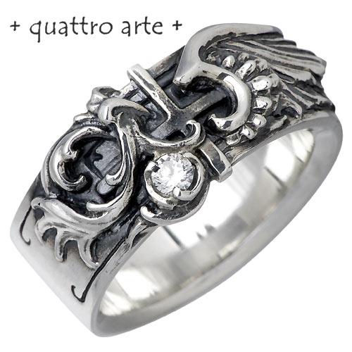 quattro arte【クアトロアルテ 指輪】リング 指輪 レディース クロス 5~30号 シルバー 5~30号 925 羽 キュービックCZ 925 スターリングシルバー QA-R-0006-CZC, 快眠博士:f991f27a --- m2cweb.com