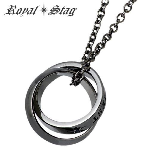 【ロイヤルスタッグゼスト】Royal Stag Zest ネックレス メンズ ダイヤモンド シルバー ジュエリー ダブル リング型 ブラック BK DIA 925 スターリングシルバー SN25-005