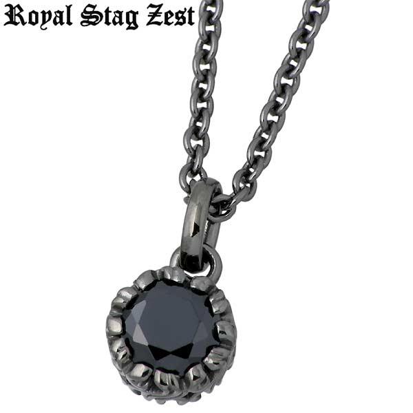 【ロイヤルスタッグゼスト】Royal Stag Zest ネックレス メンズ シルバー ジュエリー ブラックキュービック 一粒石 アラベスク 925 スターリングシルバー SN25-012