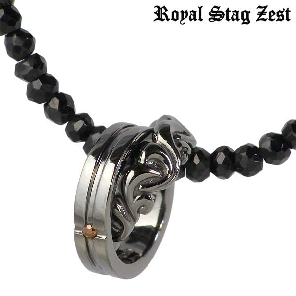 ロイヤルスタッグゼスト Royal Stag Zest ネックレス メンズ ダイヤモンド シルバー ジュエリー レッドダイヤモンド ブラックスピネル アラベスク 925 スターリングシルバー SN25-021