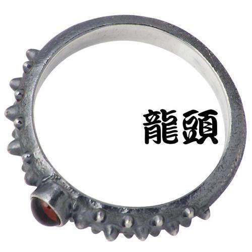 霰 指輪 あられ RYUZU メンズ リング 12〜26号 RYUZU-R-99 【龍頭】 石付き ブリタニアシルバー シルバー 燻し 950