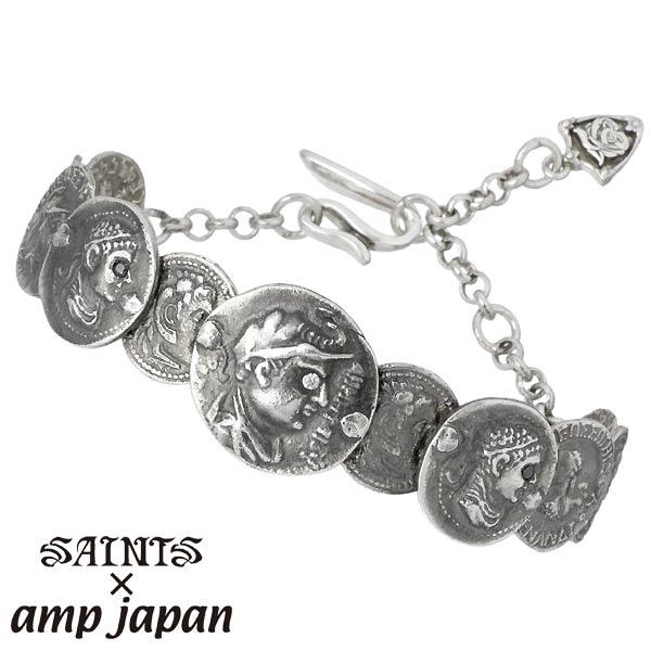 セインツ×アンプジャパン SAINTS X amp japan バングル メンズ ギリシャ コイン ブレスレット シルバーアクセサリー SSB6-02