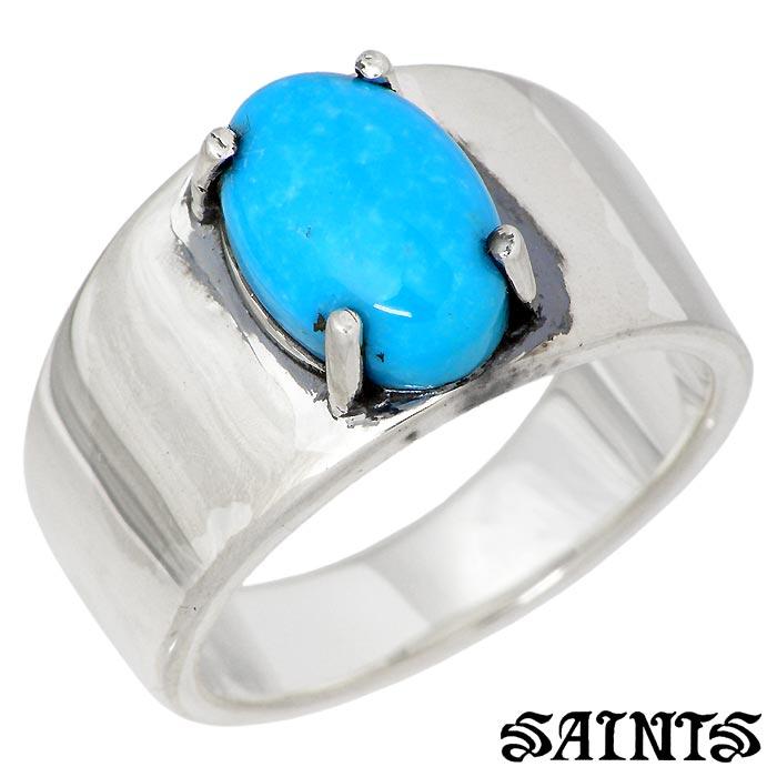 【セインツ】SAINTS シルバー ジュエリー リング ターコイズ スタンプ メンズ 指輪 17~21号 SSR-806TQ