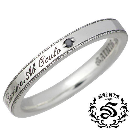 【セインツ】SAINTS リング 指輪 メンズ シルバー ジュエリー ブラックダイヤモンド メッセージ 15~21号 925 スターリングシルバー SSR2-117BD