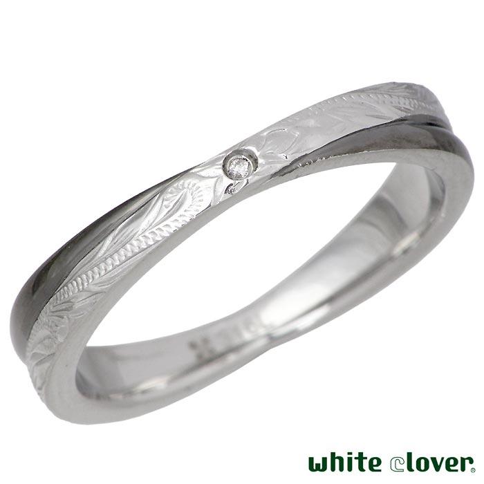 【ホワイトクローバー】white clover ステンレス リング 指輪 メンズ ハワイアンジュエリー ダイヤモンド Xクロス 13~19号 アレルギーフリー サージカルステンレス316L 刻印可能 4SUR055BK