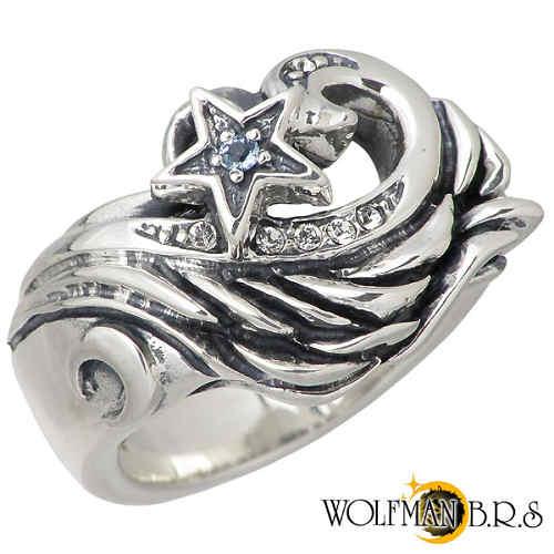 【ウルフマンB.R.S】WOLFMAN B.R.S リング 指輪 レディース フェザー メンズ シルバー ジュエリー スター ストーン17~21号 925 スターリングシルバー R-NW-13
