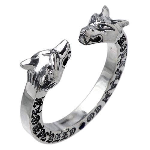【ウルフマンB.R.S】WOLFMAN B.R.S リング 指輪 レディース シルバー ジュエリー Wヘッド ストーン925 スターリングシルバー WO-R-043