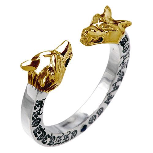 ウルフマンB.R.S WOLFMAN B.R.S リング 指輪 レディース シルバー ジュエリー Wヘッド ストーンG925 スターリングシルバー WO-R-043G