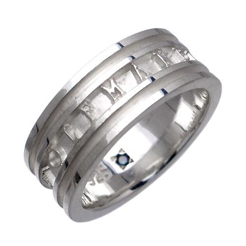 WOLFMAN B.R.S【ウルフマンB.R.S】リング 指輪 メンズ シルバー ロゴW ブルーダイヤモンド 925 スターリングシルバー WO-R-053