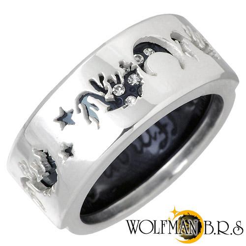 【ウルフマンB.R.S】WOLFMAN B.R.S リング 指輪 メンズ シルバー ジュエリー ムーン スター ウルフ ブラック 17号~21号 925 スターリングシルバー WO-R-061BK