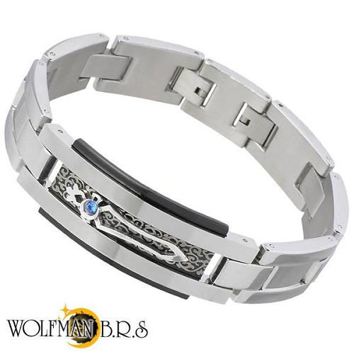 【ウルフマンB.R.S】WOLFMAN B.R.S ブレスレット メンズ ブレード ID スワロフスキー ステンレス 925 スターリングシルバー NW-BR-305