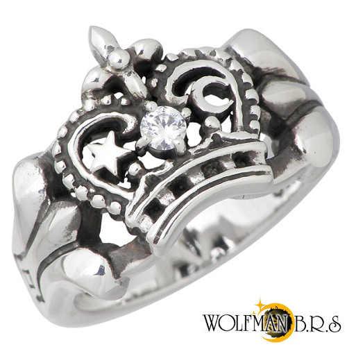 【ウルフマンB.R.S】WOLFMAN B.R.S リング 指輪 メンズ シルバー ジュエリー ムーン スター クラウン キュービック 13~19号 925 スターリングシルバー NW-R-11WH