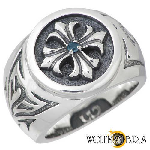 ウルフマンB.R.S WOLFMAN B.R.S リング 指輪 メンズ シルバー ジュエリー クロス ブルートパーズ 19~23号 925 スターリングシルバー NW-R-3