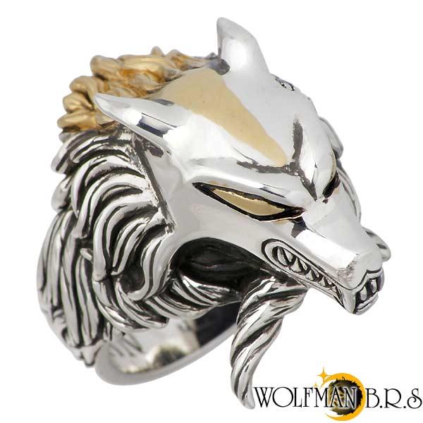 ウルフマンB.R.S WOLFMAN B.R.S リング 指輪 メンズ ウルフ シルバー ジュエリー MG ブルートパーズ ゴールド 17~21号 925 スターリングシルバー R-WC-65MG