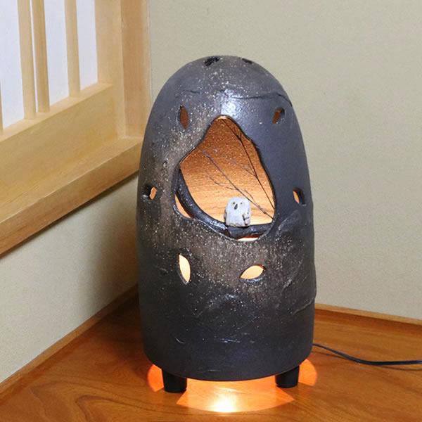 信楽焼 陶器照明 インテリア照明 梟あんどん 行灯 信楽焼照明 屋内用照明 ライト やきもの 灯り 室内照明 ak-0003