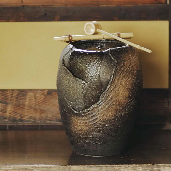 信楽焼 和風 おしゃれ 湧き水電動つくばい 陶器つくばい 循環 水琴窟 水流 蹲 筧 かけひ すいきん 箱庭 カケヒ 湧き水  響 dt-0002