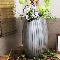信楽焼き 黒銀彩花瓶 癒しを感じさせる土味の壷 つぼ 花瓶 花器 陶器 花入れ 投げ入れ しがらき 一輪挿し インテリア やきもの 焼き物[ha-0096]