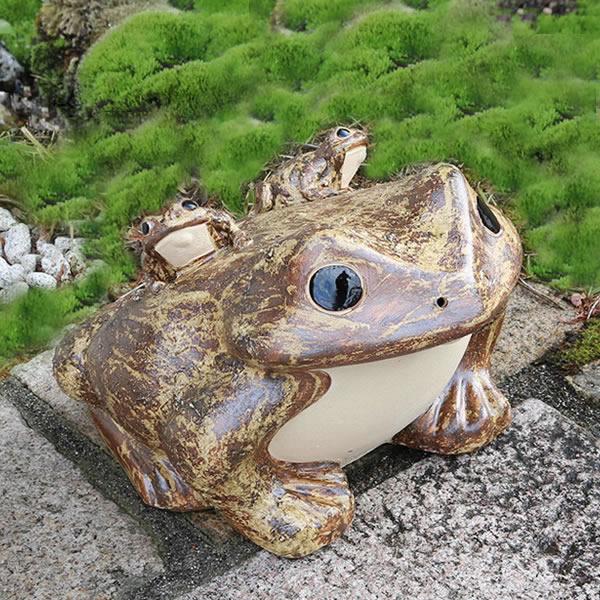 【P5倍以上】信楽焼 和風 おしゃれ  20号蛙 縁起物 カエル お庭 玄関 陶器 蛙 かえる  幸せ 子宝 健康 ka-0008 お買い物マラソン