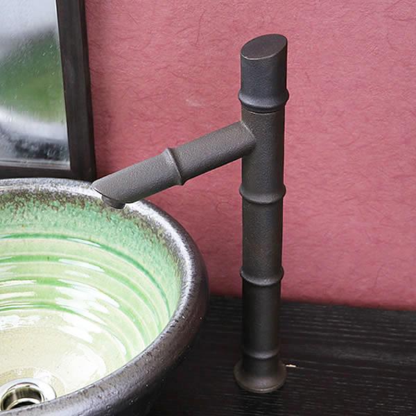 【 今だけ10%OFFクーポン 】信楽焼 和風 おしゃれ 立ち水栓 手洗い鉢用 立水栓 単水栓 竹 se-0028